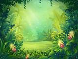 Vector cartoon illustration of background morning rainforest