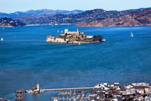 Fisherman's Wharf Alcatraz Island Sail Boats San Francisco Calif