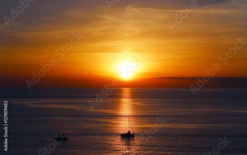 Tuinposter Baksteen Beautiful sea sunset