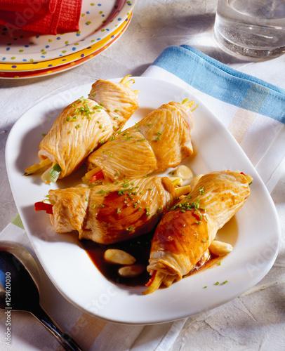 Fotografie, Obraz  Turkey rolls stuffed with vegetables