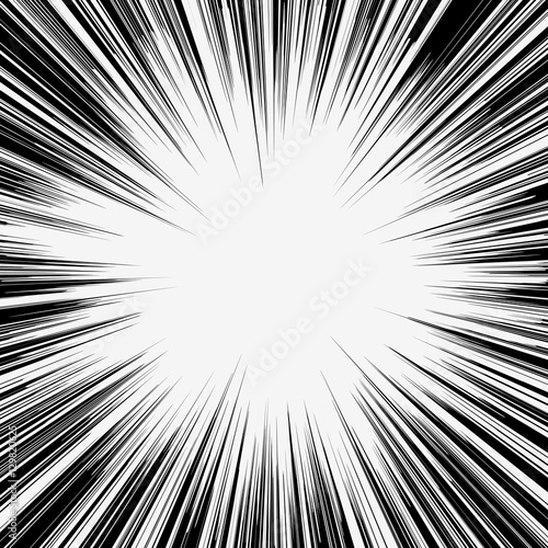 Comic book black and white radial lines background, manga speed ...