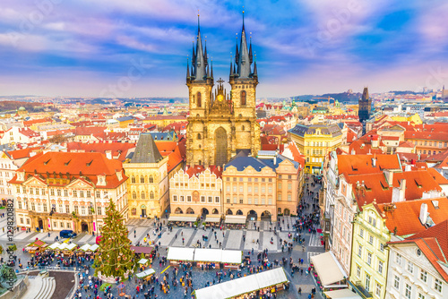 Panoramic view over Old town square in Prague at Christmass time, Czech Republic
