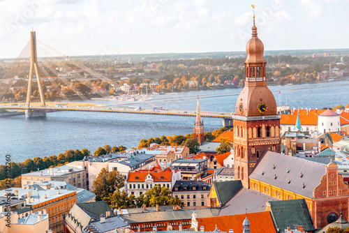 Obraz na plátně Cityscape aerial view on the old town with Dome cathedral and Daugava river in R