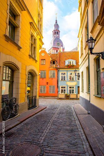 Recess Fitting Eastern Europe Street view with bell tower of Dome church in the old town of Riga city, Latvia