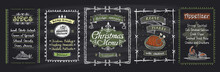 Chalk Christmas Menu Blackboard Designs Set. Vector Hand Drawn Illustration With Holidays Menu
