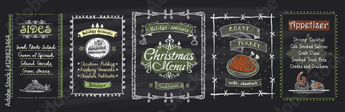 Obraz Chalk Christmas menu blackboard designs set. Vector hand drawn illustration with holidays menu - fototapety do salonu