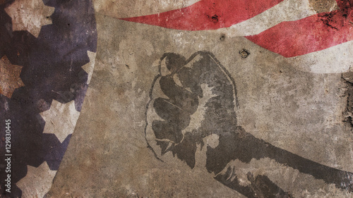 Cuadros en Lienzo Martin Luther King Day. Flag Concrete and Fist