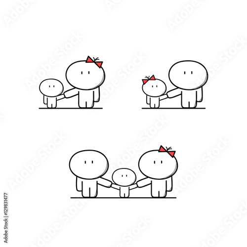 Cute Single Mother And Father With A Child Full Family With A Kid Parents Mom And Dad With Boy And Girl Cartoon Vector Illustration Buy This Stock Vector And Explore