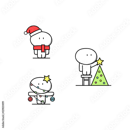 a56aee19 Cute man in red hat and scarf looks like santa claus, with Christmas  decorations, put the ...
