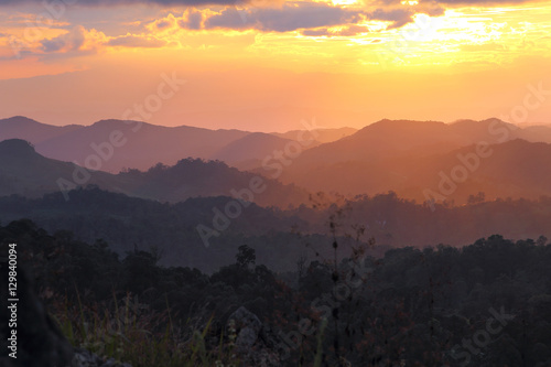 Papiers peints Morning Glory Beautiful scenery during time the sunset and cordillera alternating layers of Doi Pha Phung at Nan province,Thailand is a very popular for photographers and tourists. Attractions and natural Concept