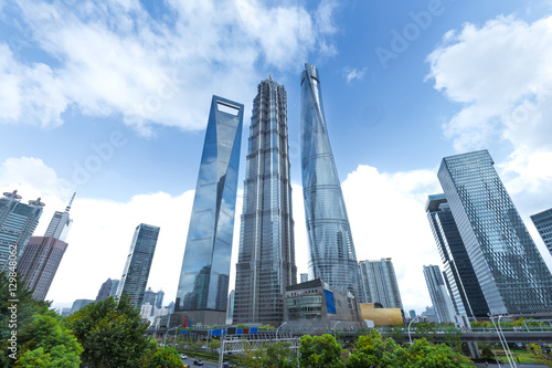 modern buildings in midtown of shanghai