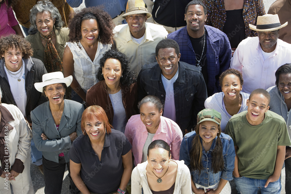 Fototapeta High angle view of happy group of African American people