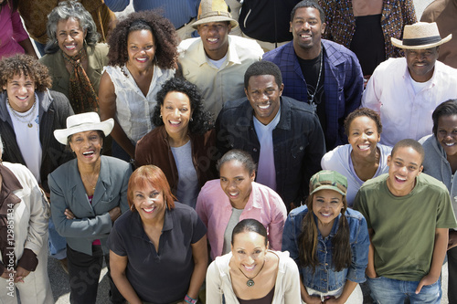 High angle view of happy group of African American people