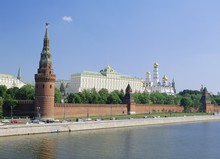 Kremlin Churches And The Moskva River, Moscow, Russia