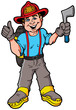 Vector Cartoon Illustration of a Smiling Fireman