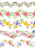 fashion floral set of seamless borders with roses, crocus, chrys