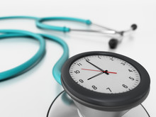 Clock Connected To Stethoscope. 3D Illustration