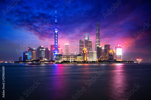 China Shanghai city skyline at dusk, Shanghai China