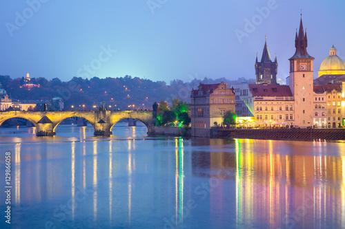 Staande foto Praag Famous Prague Landmarks at night, Europe