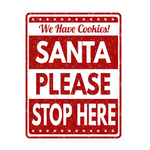 Santa Please Stop Here Sign Or...