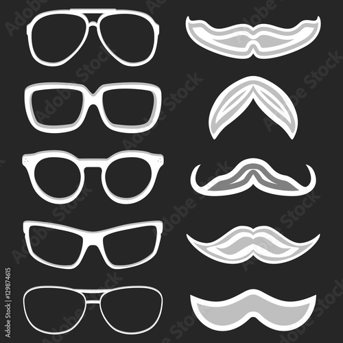 Set of hipster nerd glasses and stylish mustaches on black. Web ...