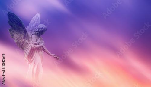 Fotografiet  Beautiful angel in heaven panoramic veiw