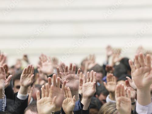 Fotografie, Obraz  Closeup of business crowd raising hands