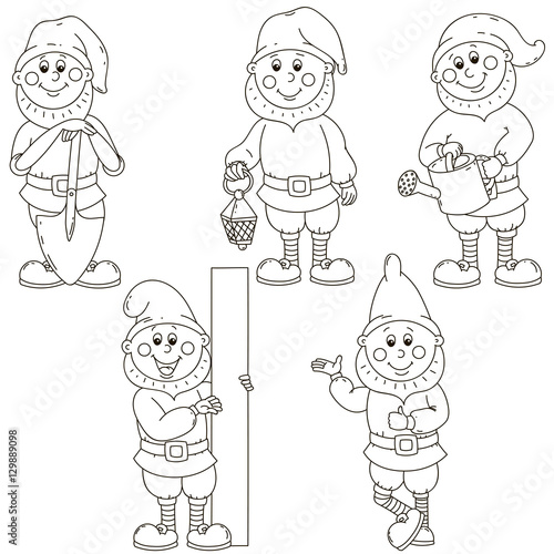 Fotografie, Obraz  Set gnomes. Isolated vector object.