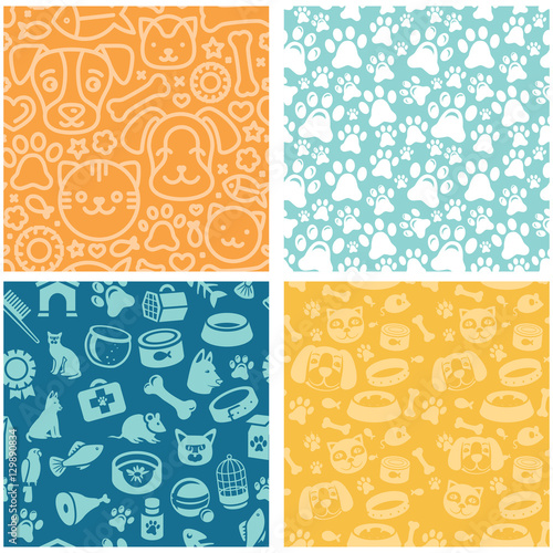 plakat Vector set of seamless patterns