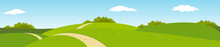 Summer Panoramic Rural Landscape With Hills And Road
