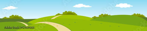 Garden Poster Pool summer panoramic rural landscape with hills and road