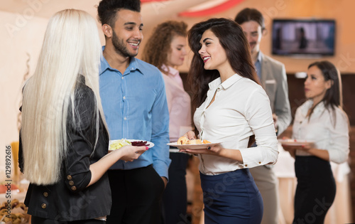 Valokuva Businesspeople Group Catering Buffet Food Restaurant, Business Banquet At Compan