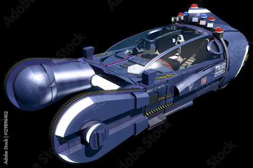 Fotomural  blade runner spinner car isolated on a black background