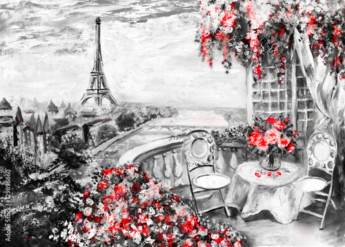 Fototapeta Oil Painting, summer cafe in Paris. gentle city landscape. Abstract flower. View from above balcony. Eiffel tower, France, wallpaper. modern art obraz