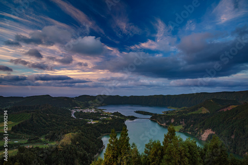 Fotografie, Obraz  Mountain landscape in green valley with green lake in Azores island mountains wi