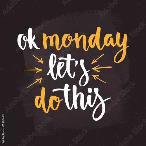 Coffee cardboard sleeve. Week days motivation quotes. Monday. плакат