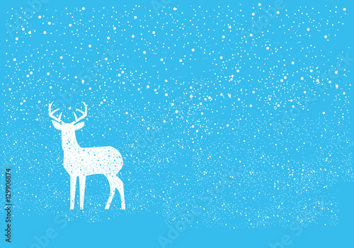 blue christmas background with deer christmas deer vector illustration simple christmas background