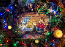 Christmas Illustration With Children`s Characters In A Themed Environment.