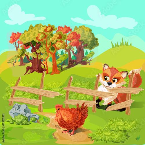 In de dag Kinderkamer Hunting Fox Farm Composition