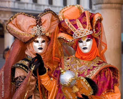 Masked carnival characters in costume, Piazzetta San Marco, San Marco district, Poster Mural XXL