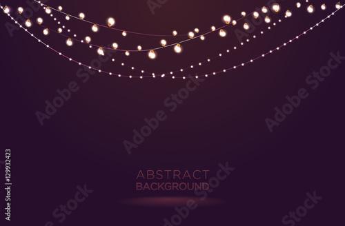 Fotografija Light garlands on dark background. Christmas lights vector