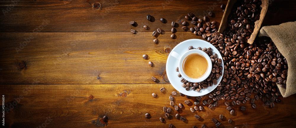 Fototapeta Espresso and coffee beans