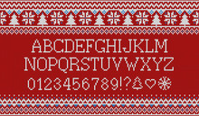 Christmas Font. Knitted Latin ...