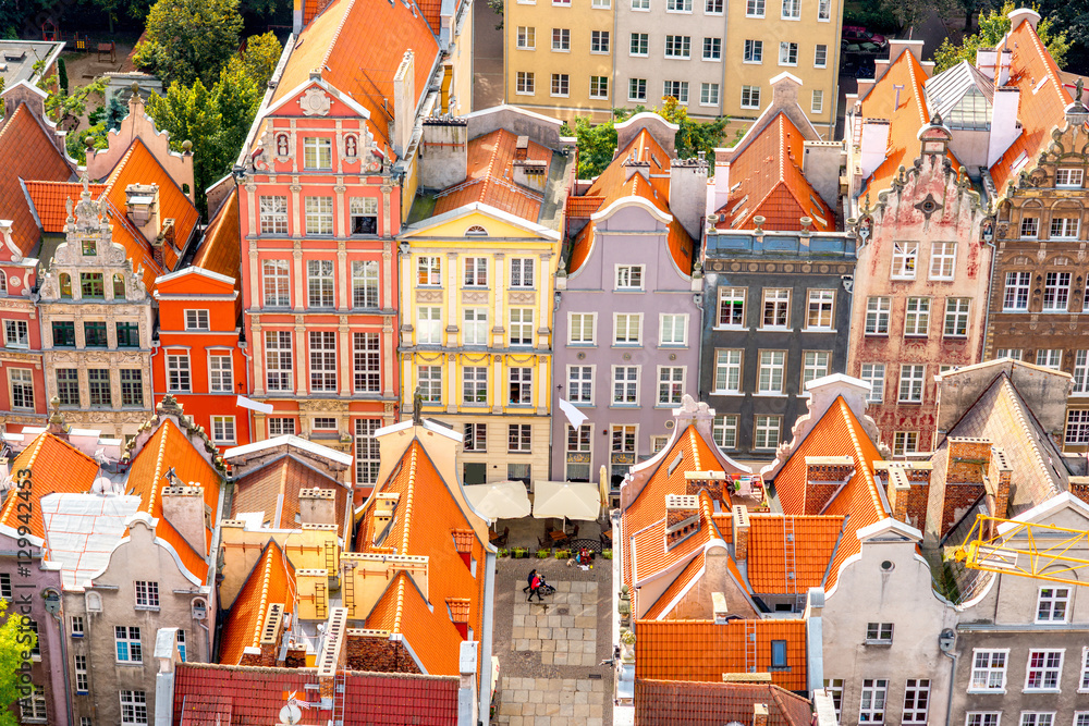 Fototapety, obrazy: Pejzaż z pięknymi kolorowymi budynkami w Gdańsku
