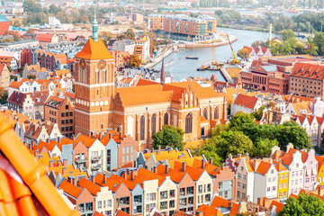 Aerial cityscape view on the old town with saint John's cathedral in Gdansk, Poland