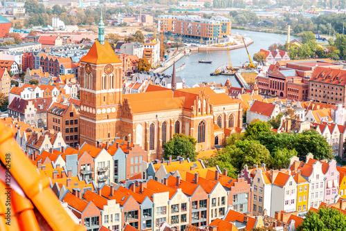 Obraz Widok z katedry Świętego Jana w Gdańsku, Polska - fototapety do salonu