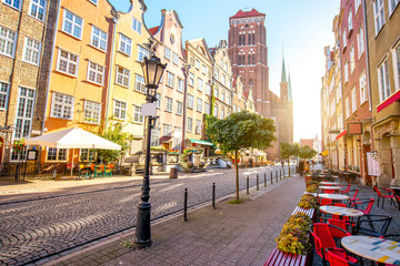 Street view with saint Mary cathedral during the morning sunlight in the old town of Gdansk