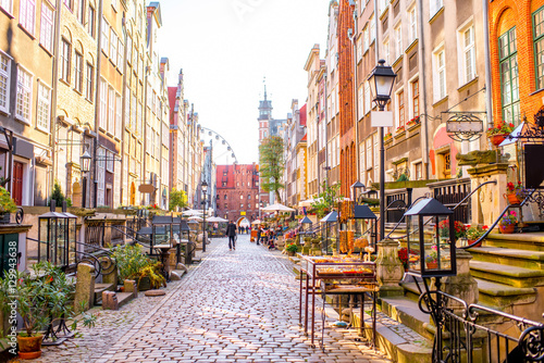 Street view with shops and cafes in th eold town of Gdansk, Poland