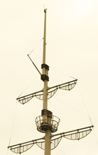 Old Vintage Ship Mast And Crow...