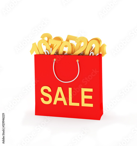 bbddbfcc3cf 3D illustration. By ravital. Red shopping bag with text sale full of golden  different percentage discounts isolated on white background